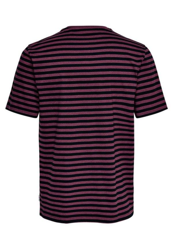 Only & Sons ONSJAMIE LIFE SS STRIPE REG TEE NOO - T-shirt z nadrukiem - zinfandel/bordowy Odzież Męska ZCKF