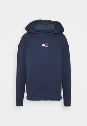 BADGE FUNNEL NECK HOODIE - Bluza z kapturem - navy