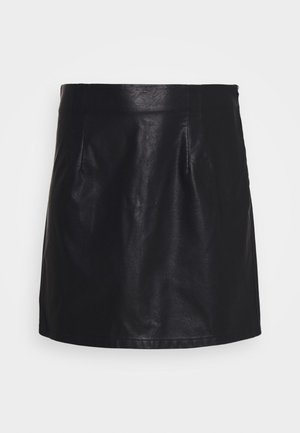 NMNEW REBEL SHORT SKIRT CURVE - Gonna di pelle - black