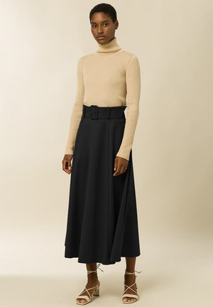 BELTED - Maxi skirt - anthracite