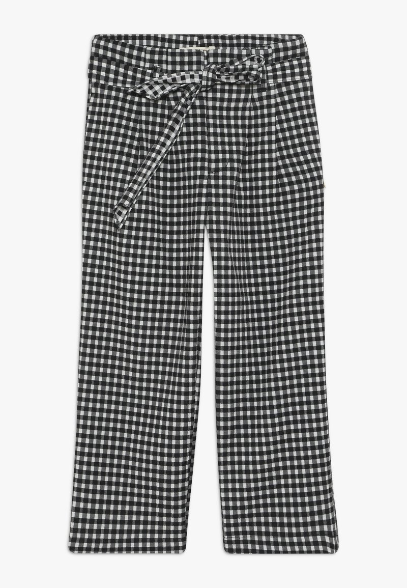 Scotch & Soda - WIDE LEG FIT PAPER BAG WAIST PANTS IN STRUCTURED CHECK - Trousers - black/white