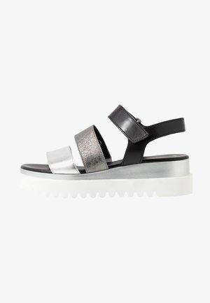 Sandalias con plataforma - silber/stone/schwarz