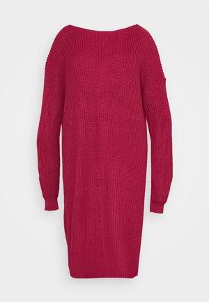 OPEN BACK INSERT DRESS - Vestido de punto - raspberry