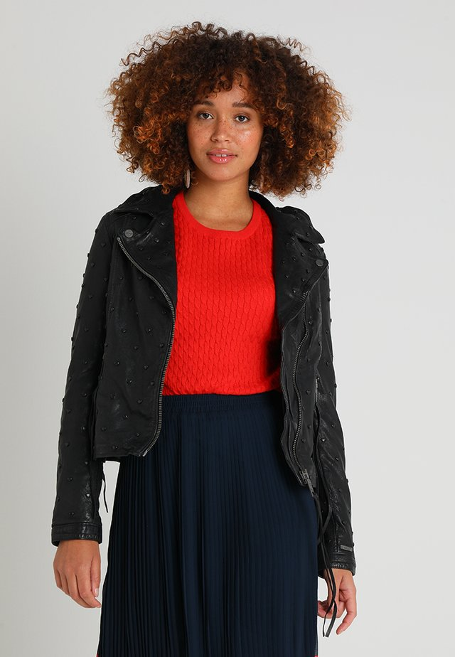 HEART - Veste en cuir - black