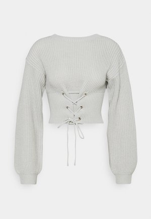 LACE UP JUMPER - Jumper - stone
