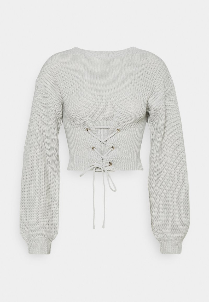 Missguided Petite - LACE UP JUMPER - Jumper - stone