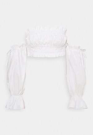 FRILL SHIRRED BARDOT - Blouse - white