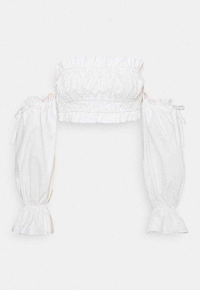 FRILL SHIRRED BARDOT - Blouse - white