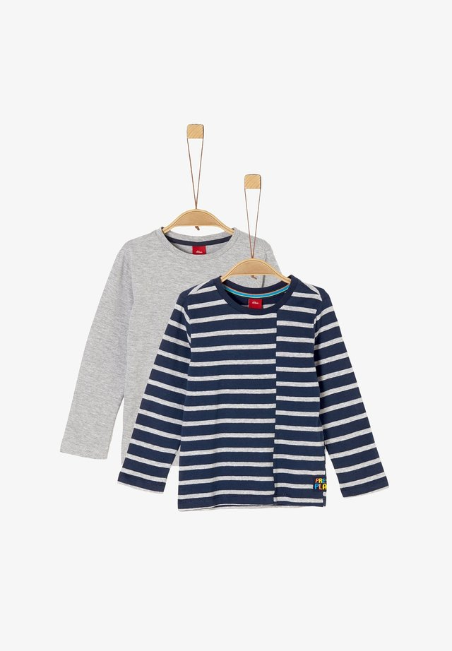 Long sleeved top - grey/navy stripes