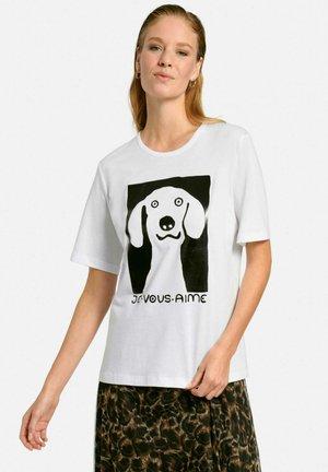 T-shirt con stampa - weiß/schwarz