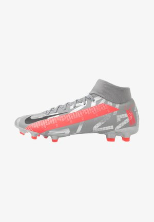 MERCURIAL 7 ACADEMY FG/MG - Moulded stud football boots - metallic bomber grey/black/particle grey