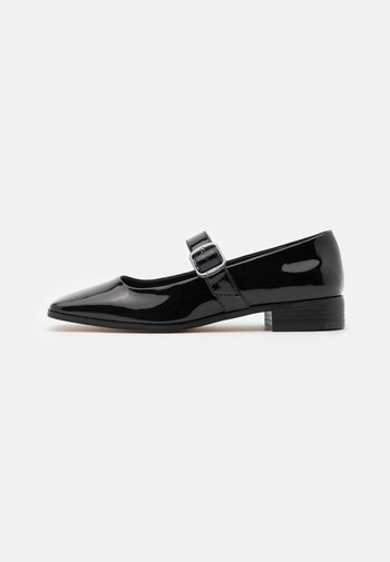 FLAT MARYJANE - Ankle strap ballet pumps - black