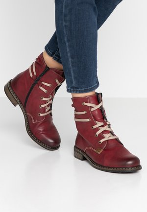 Lace-up ankle boots - wine/mogan