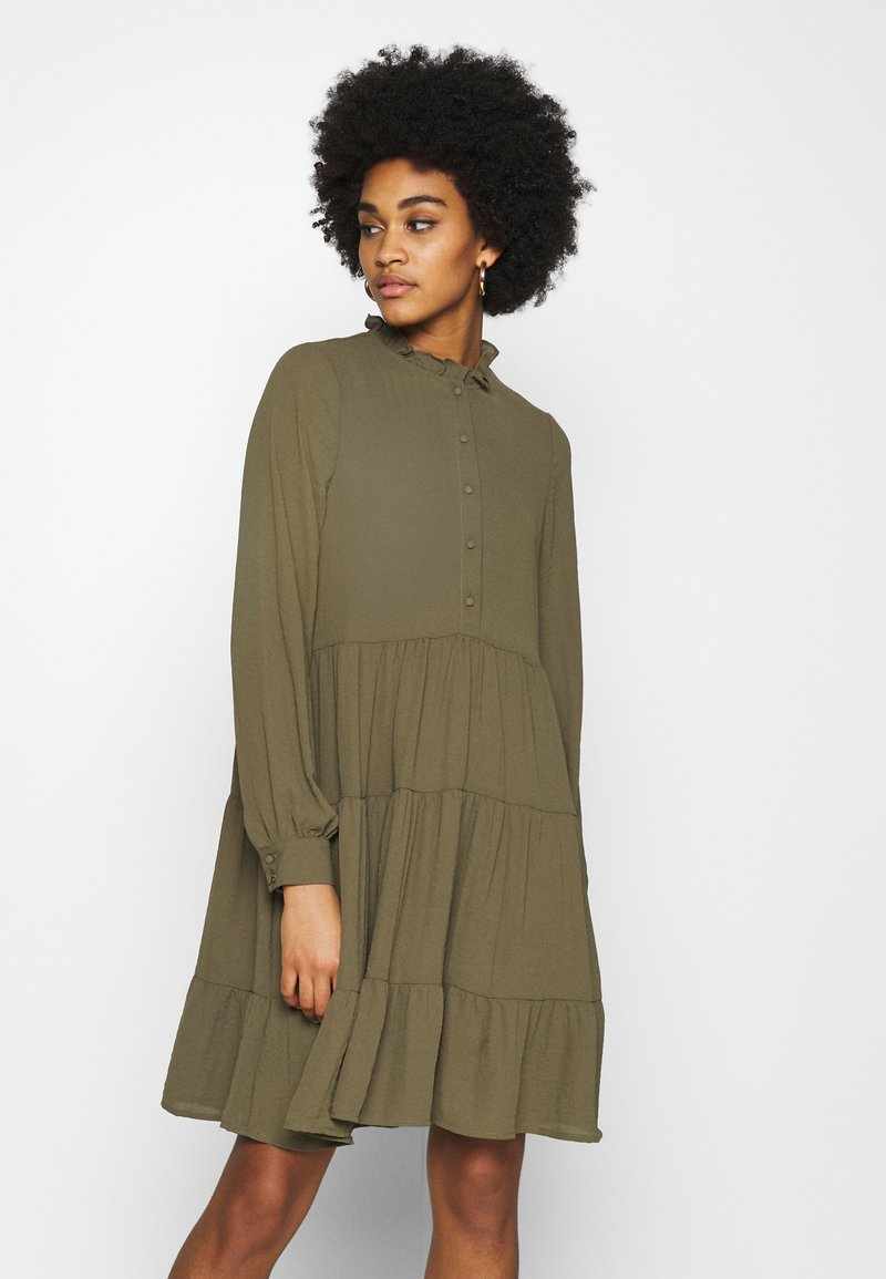 Vero Moda - VMZIGGA FRILL - Shirt dress - ivy green