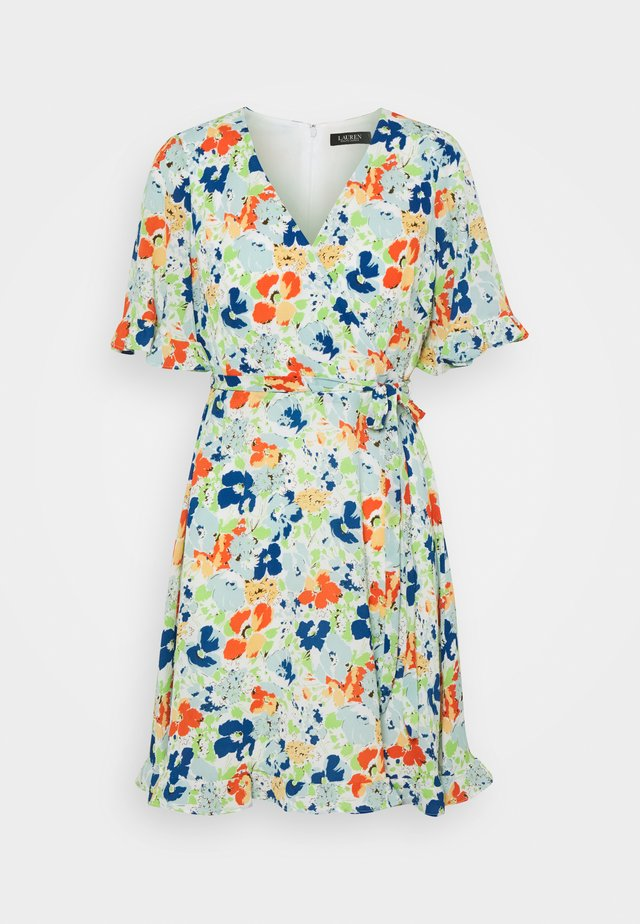 ALANETTA SHORT SLEEVE DAY DRESS - Robe d'été - colonial cream/blue/multi