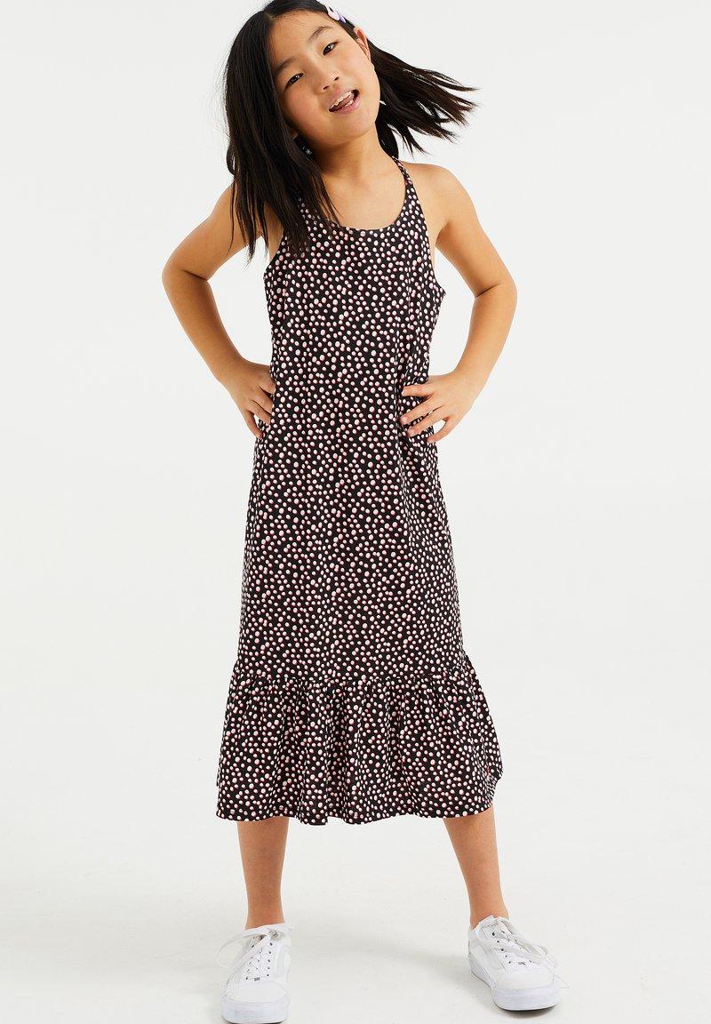 WE Fashion - MET STIPPENDESSIN - Jersey dress - black