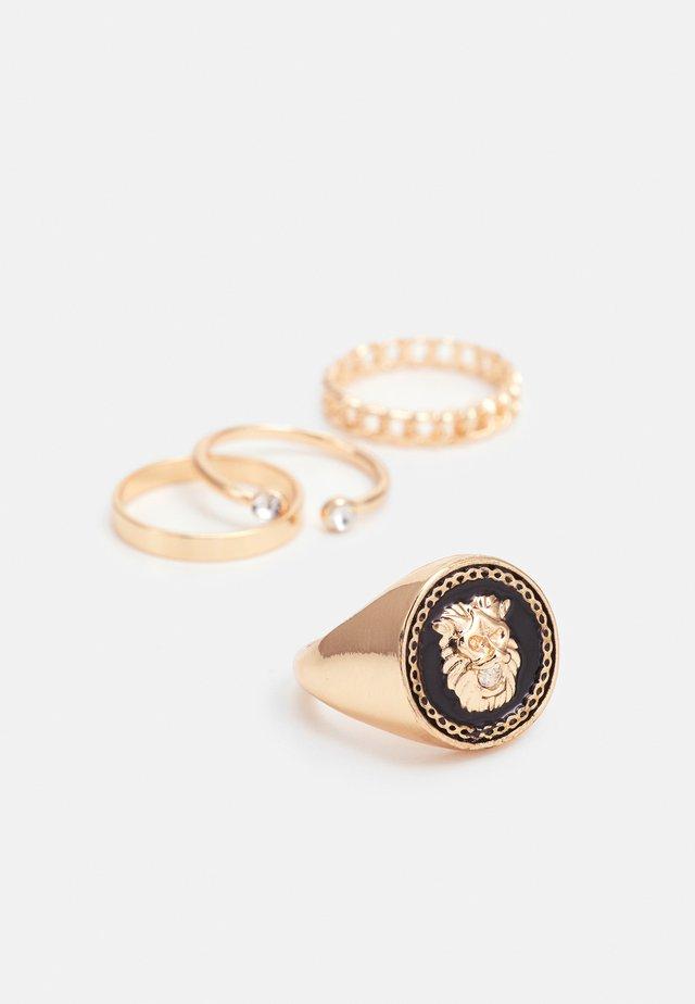 POREMMA 4 PACK - Ring - black/gold-coloured