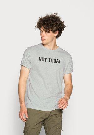 TODAY - Print T-shirt - ecru marl/black