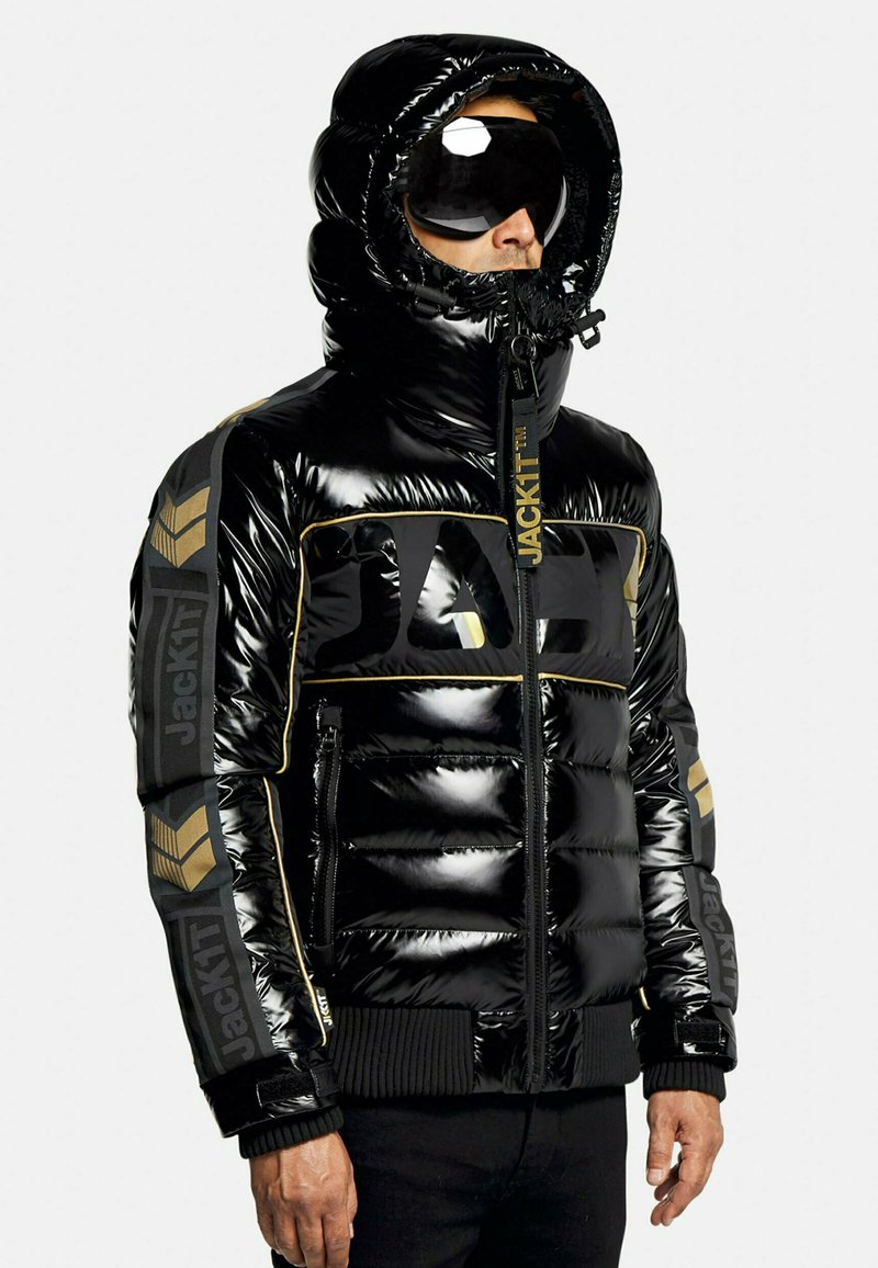 JACK1T - Denim jacket - black/wet black/gold