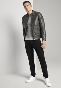 TOM TAILOR - Faux leather jacket - stone grey fake leather - 1