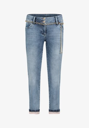 MIT WASCHUNG - Straight leg jeans - light blue denim
