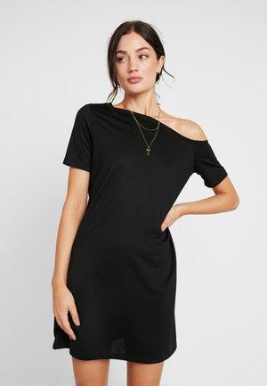 OFF SHOULDER RELAXED - Žerzejové šaty - black