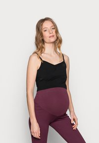 Anna Field MAMA - 2ER PACK CROP NURSING CAMI  - Toppe - black/dark blue - 3