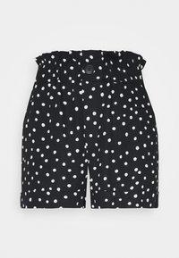 Topshop - FRILL PAPERBAG SHORTS - Shorts - white/black - 4