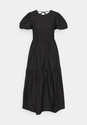 TIE BACK PUFF SLEEVE MIDAXI SMOCK DRESS - Kjole - black
