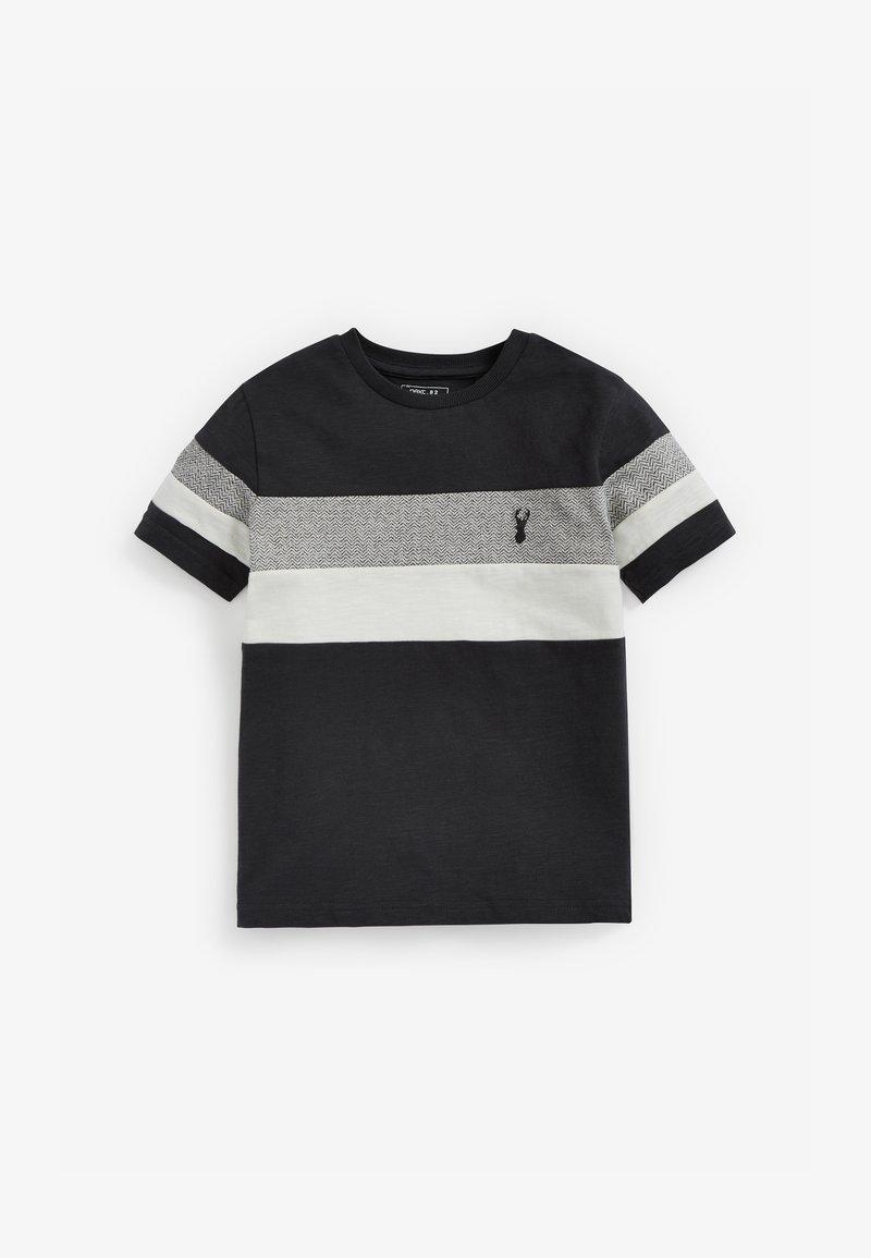 Next - MONOCHROME TEXTURED COLOURBLOCK - Print T-shirt - grey