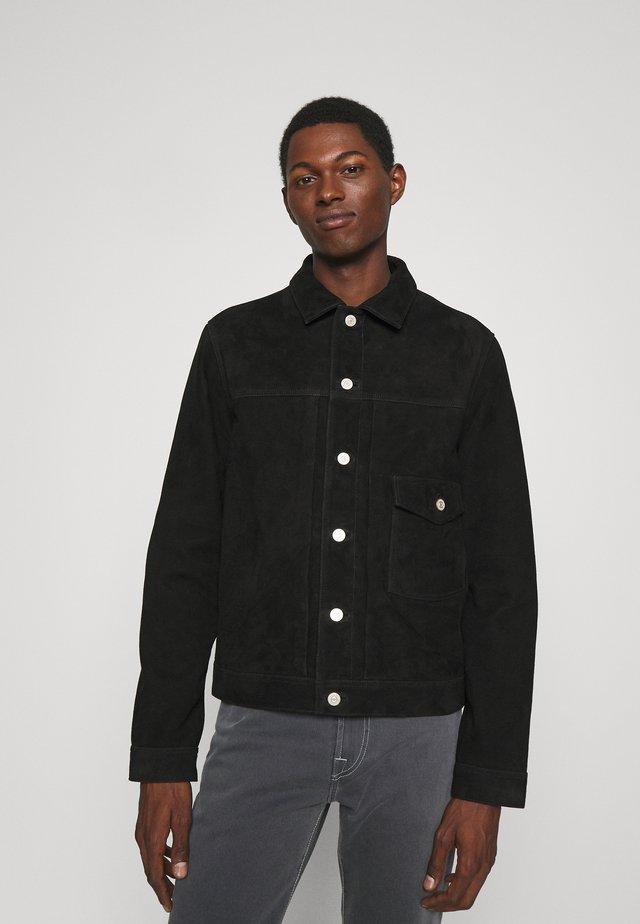 JACKET LINED - Leather jacket - black