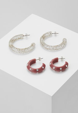 PCNALA HOOP EARRINGS 2 PACK - Earrings - ash rose/clear