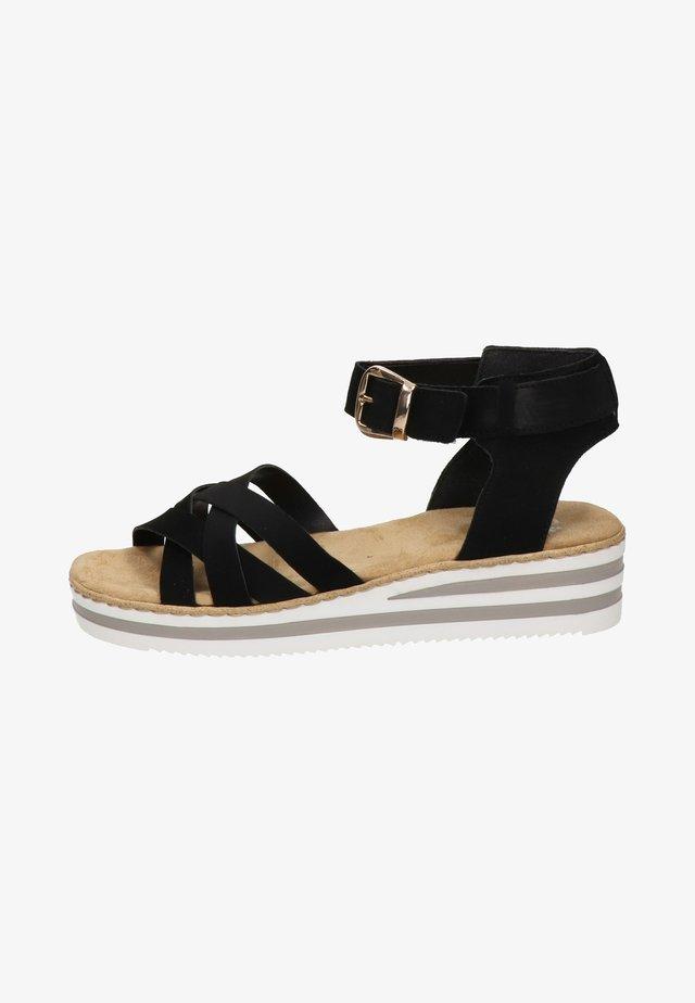 Sandalen met sleehak - zwart
