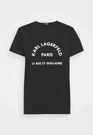 ADDRESS LOGO TEE - T-shirt z nadrukiem - black