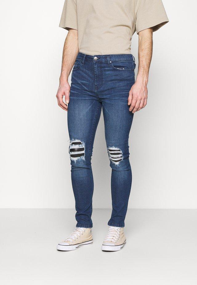 PATCH - Skinny džíny - blue