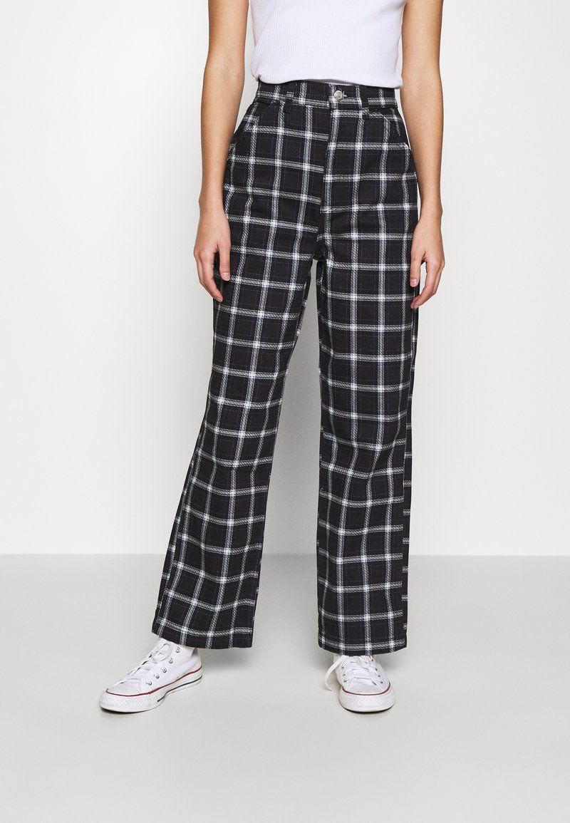 Topshop - CHECK CARPENTER - Trousers - navy