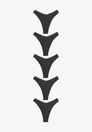 5 PACK - Thong - metallic black
