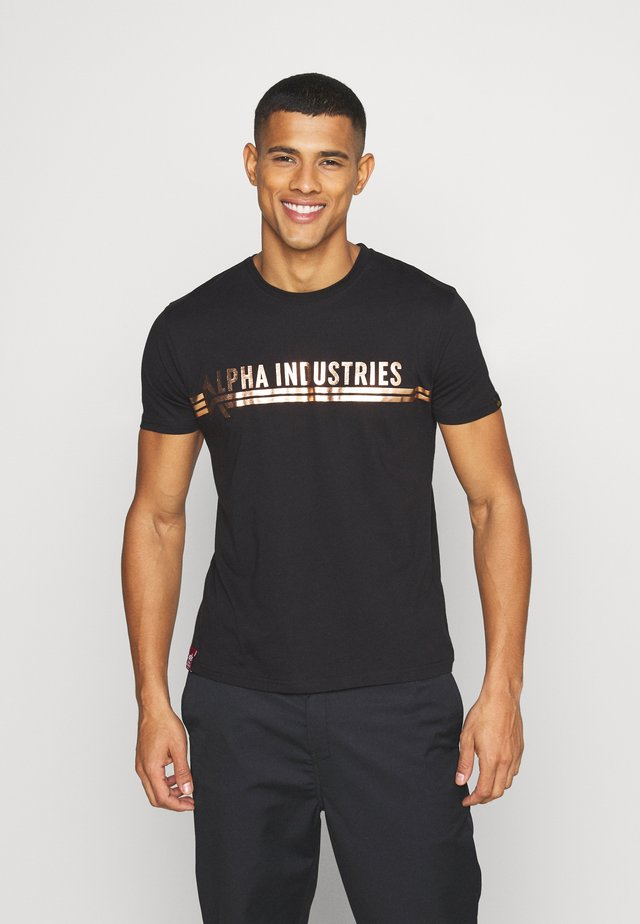 Print T-shirt - black/copper