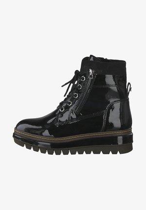 Platform ankle boots - black patent