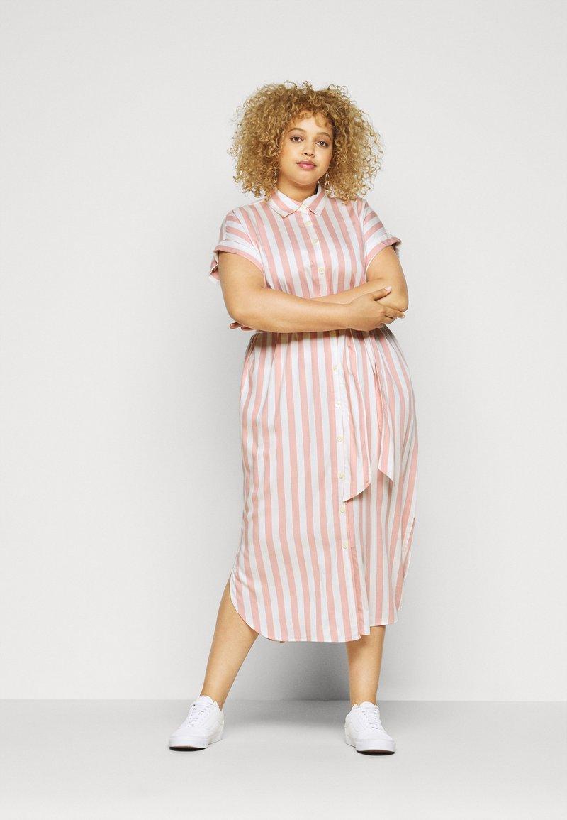 Lauren Ralph Lauren Woman - CICERO SHORT SLEEVE CASUAL DRESS - Shirt dress - pink/white