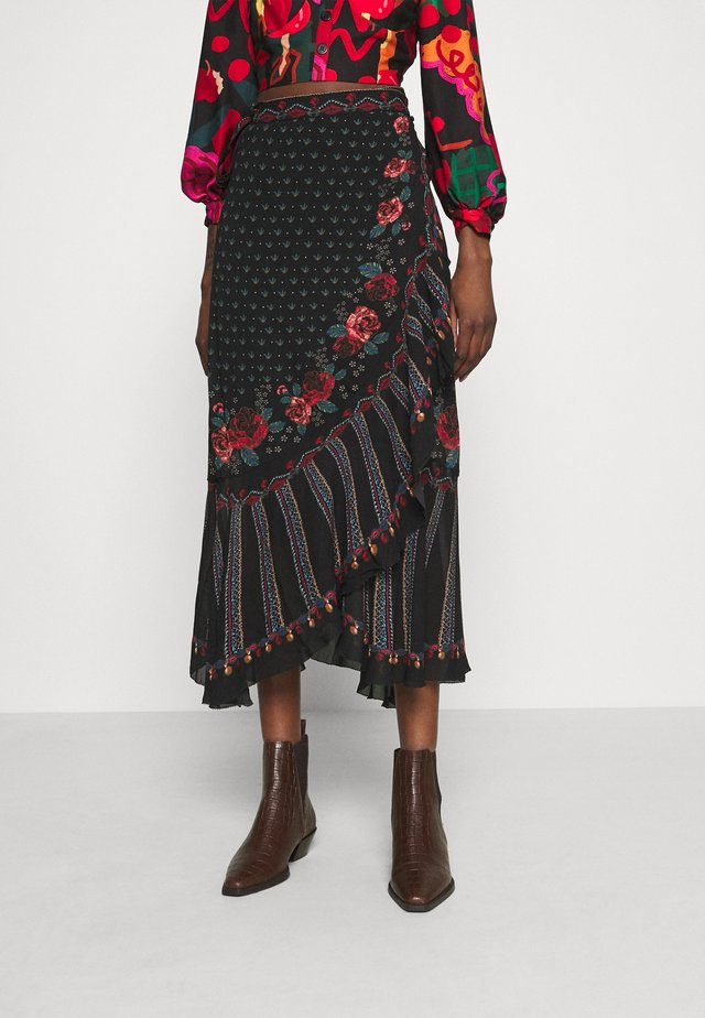 EMBROIDERED FLORAL WRAP SKIRT - Kokerrok - black