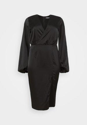 BALLOON SLEEVE WRAP FRONT DRESS - Denní šaty - black