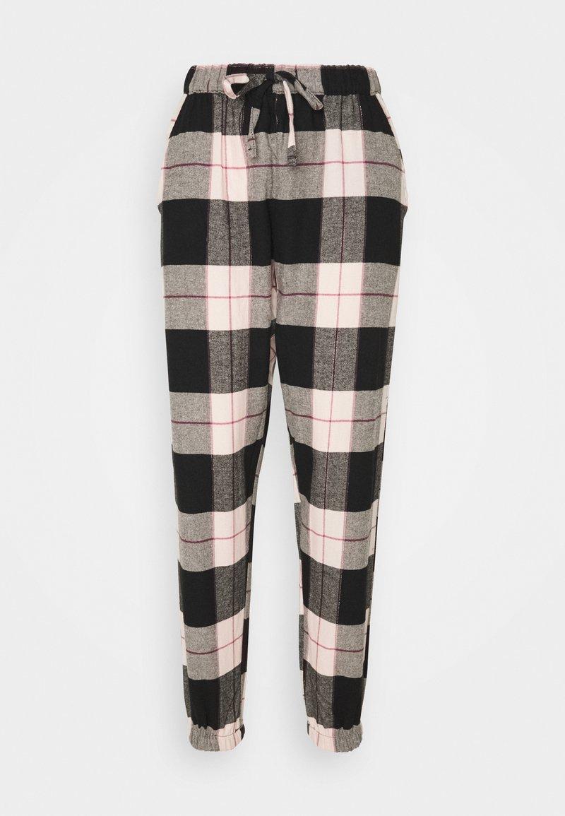 Hunkemöller - PANT CHECK CUFF - Pyjama bottoms - black