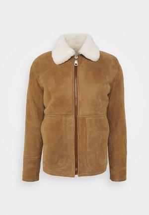 Leather jacket - camel/off white