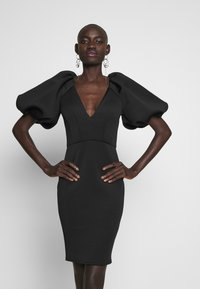 True Violet Tall - TRUE EXTREME PUFF SHOULDER PLUNGE MINI DRESS - Vestido de cóctel - black - 0