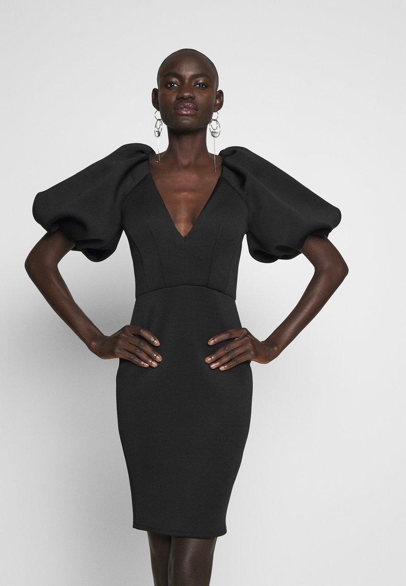 True Violet Tall - TRUE EXTREME PUFF SHOULDER PLUNGE MINI DRESS - Vestido de cóctel - black