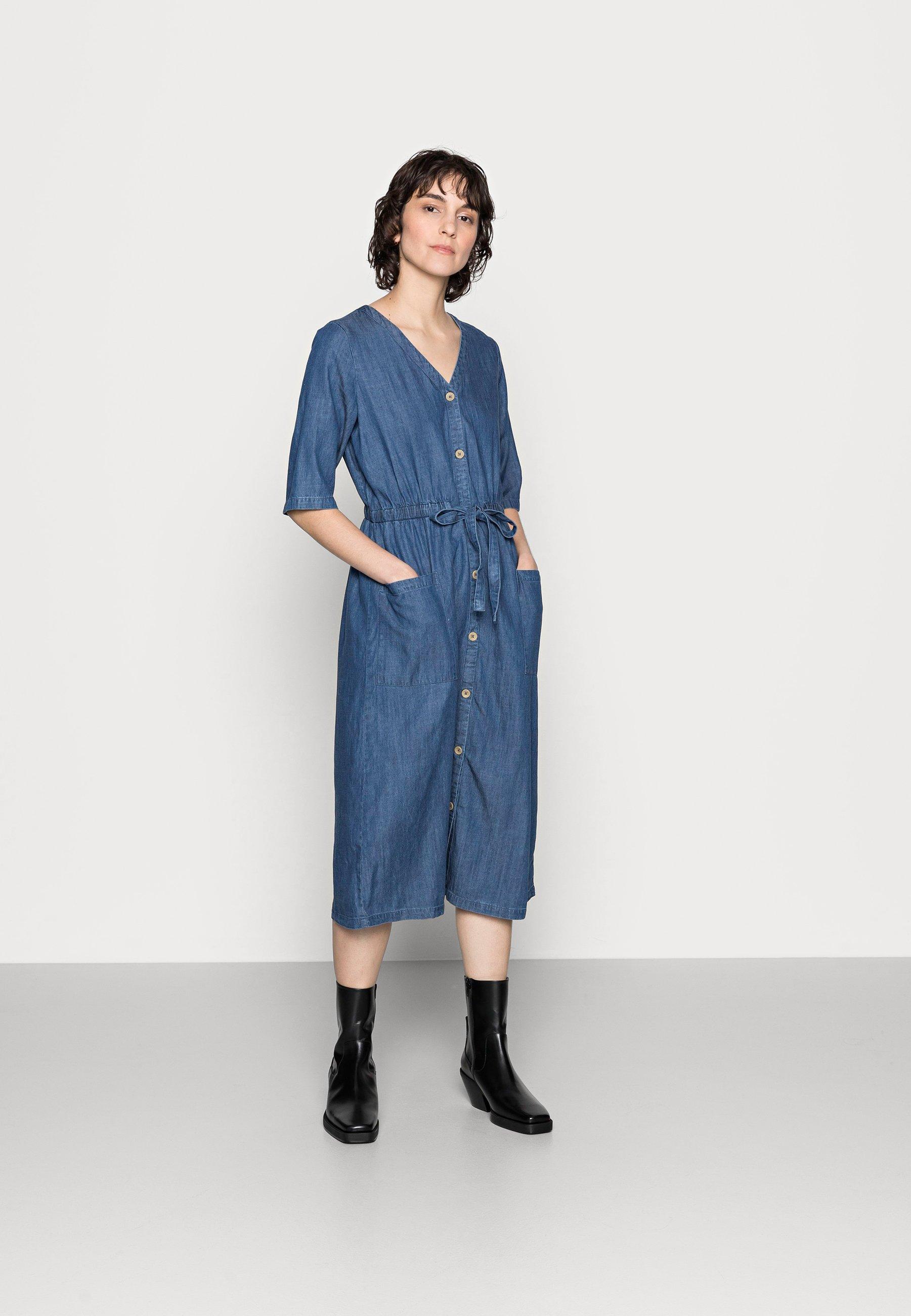 Women ESTHER TIE WAIST DRESS - Denim dress