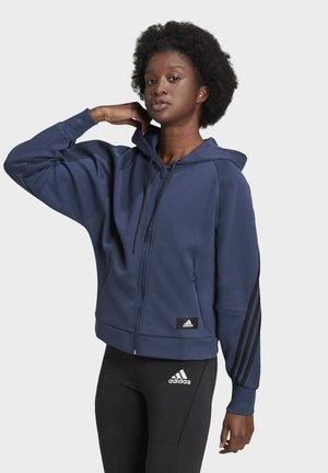 ADIDAS SPORTSWEAR WRAPPED 3-STRIPES FULL-ZIP HOODIE - veste en sweat zippée - blue