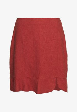 RUFFLE HEM - Mini skirt - henna red