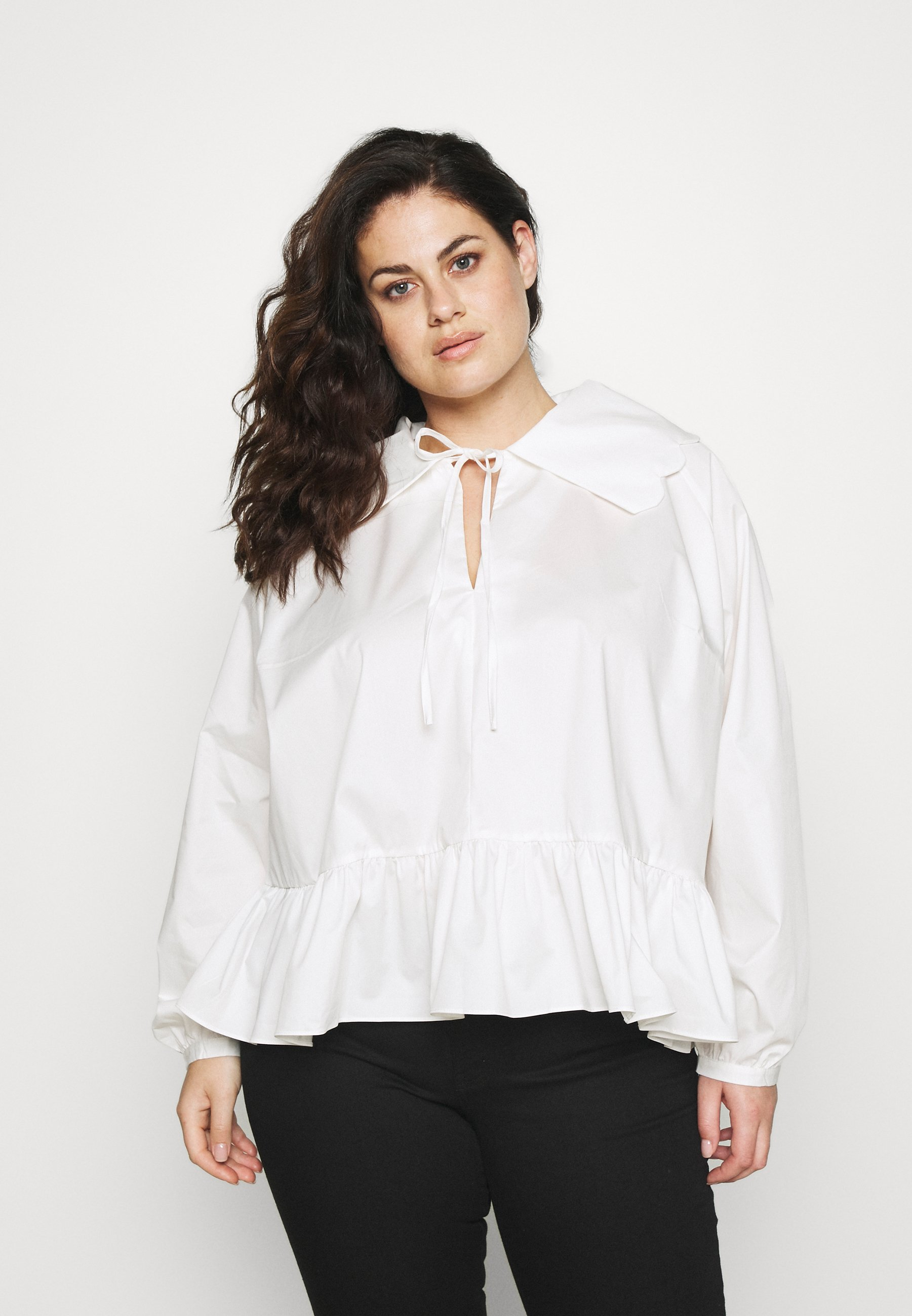 Women BABYDOLL BLOUSE WITH SCALLOP COLLAR FRONT NECK TIE DETAIL - Blouse